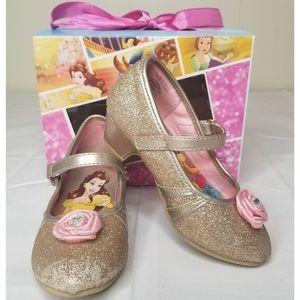 Disney Princess Belle Gold Glitter Toddler Heels 9